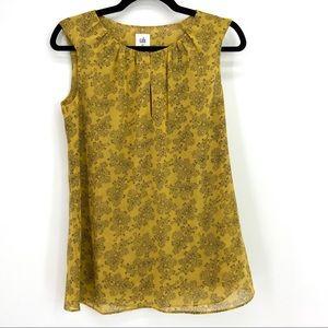 CAbi Semi Sheer Mustard Black Paisley Print Top